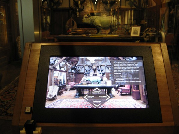Photo of a digital interactive touch screen in the Colby Room at the Museum of Science, Boston